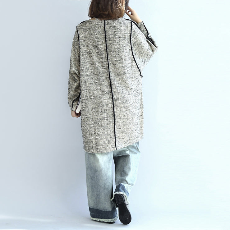 fall fashion 2021 casual knit cotton dresses light gray long sleeve sweater dress