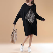 Load image into Gallery viewer, fall fashion black solid cotton dresses oversize long sleeve prints dress
