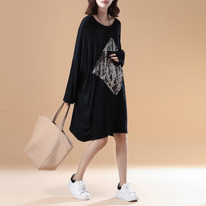 fall fashion black solid cotton dresses oversize long sleeve prints dress