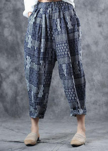 fall new blue prints women pants linen blended elastic waist harem pants