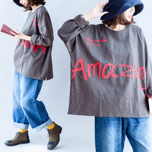 fall warm casual gray cotton embroidery alphabet pullover oversize o neck t shirt