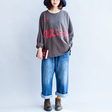 Load image into Gallery viewer, fall warm casual gray cotton embroidery alphabet pullover oversize o neck t shirt