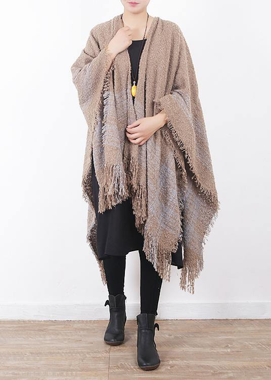 fall winter gray blue striped sacarf oversize women rectangle shawl