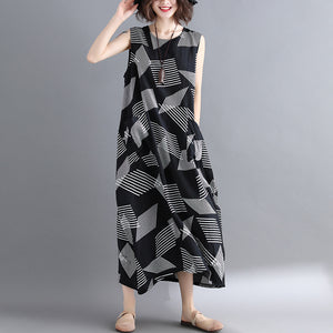 fashion Geometric cotton linen dress Loose fitting short sleeve baggy dresses long dresses Elegant o neck caftans