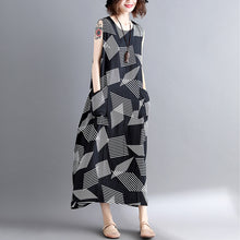 Load image into Gallery viewer, fashion Geometric cotton linen dress Loose fitting short sleeve baggy dresses long dresses Elegant o neck caftans