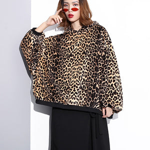 fashion Leopard t shirt Loose fitting hooded clothing tops top quality Batwing Sleeve tops