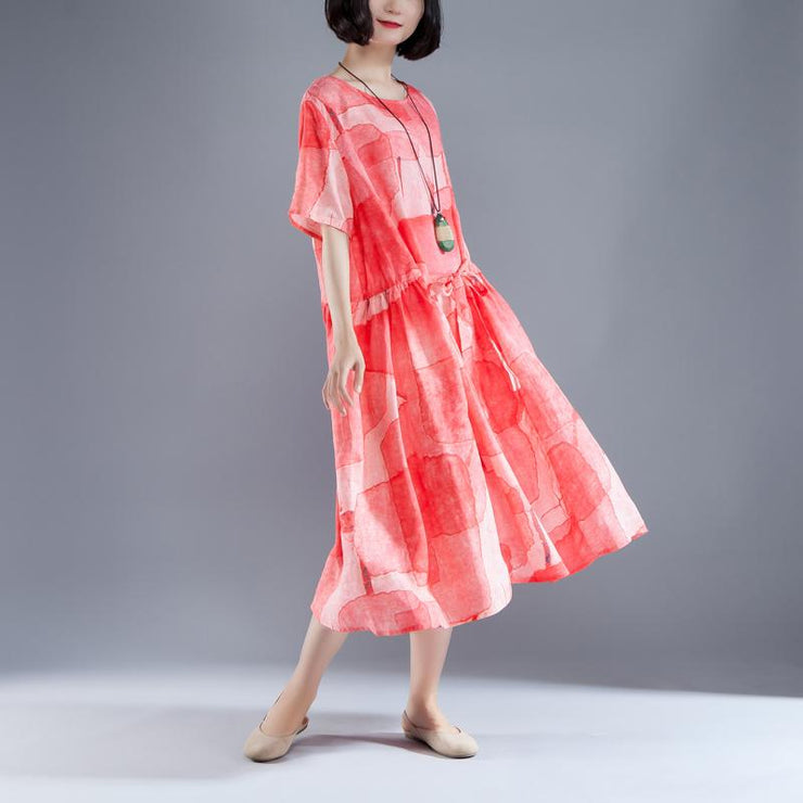 fashion Ramie sundress Loose fitting Short Sleeve Lacing Summer Pleated Casual Red Dress