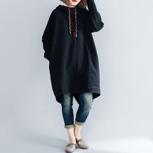 fashion black Midi cotton dresses oversized knee dresses hooded traveling clothing thick