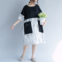 Load image into Gallery viewer, fashion black Midi cotton dresses plus size clothing casual dress 2018 patchwork o neck short sleeve cotton dress
