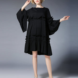 fashion black Midi-length linen dress plus size clothing linen maxi dress Elegant flare sleeve ruffles midi dress