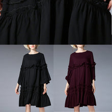 Load image into Gallery viewer, fashion black Midi-length linen dress plus size clothing linen maxi dress Elegant flare sleeve ruffles midi dress