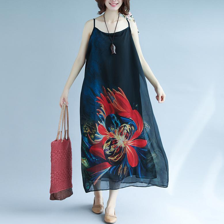 fashion black chiffon holiday dress Spaghetti Strap floor length dress print summer dress