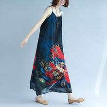 Load image into Gallery viewer, fashion black chiffon holiday dress Spaghetti Strap floor length dress print summer dress