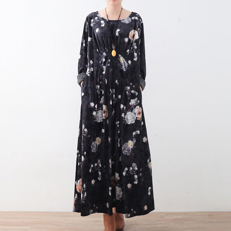 fashion black corduroy dresses oversize prints maxi dress boutique patchwork kaftans