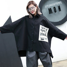 Load image into Gallery viewer, fashion black cotton blended blouse Loose fitting Turn-down Collar asymmetric casual cardigan 2018 Batwing Sleeve baggy cotton blended tops
