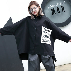 fashion black cotton blended blouse Loose fitting Turn-down Collar asymmetric casual cardigan 2018 Batwing Sleeve baggy cotton blended tops