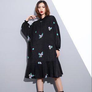 fashion black embroidery fall dress Loose fitting traveling dress Elegant Stand clothing dresses