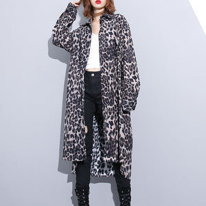 fashion black leopard plus size coat Turn-down Collar baggy coat
