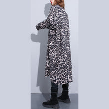 Load image into Gallery viewer, fashion black leopard plus size coat Turn-down Collar baggy coat