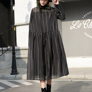fashion black long tulle dress plus size striped cotton caftans New stand collar maxi dresses