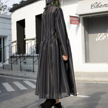 Load image into Gallery viewer, fashion black long tulle dress plus size striped cotton caftans New stand collar maxi dresses
