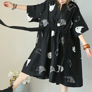 fashion black natural cotton dress plus size clothing tie waist wrinkled traveling clothing women v neck cotton caftans