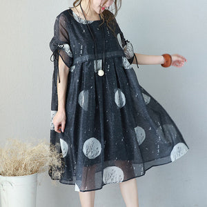 fashion black prints long chiffon dress Loose fitting high waist chiffon gown top quality drawstring sleeve kaftans