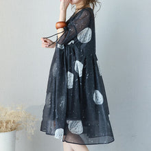 Load image into Gallery viewer, fashion black prints long chiffon dress Loose fitting high waist chiffon gown top quality drawstring sleeve kaftans