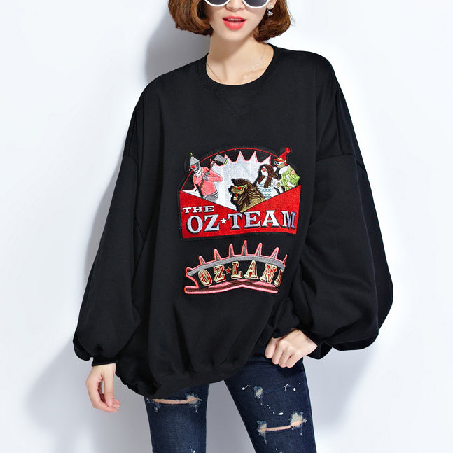 fashion black pure cotton tops plussize cotton clothing blouses Elegant appliques batwing sleeve midi tops