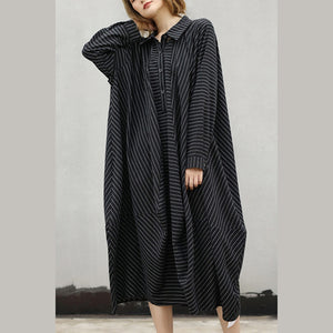 fashion black striped natural cotton dress trendy plus size Turn-down Collar women asymmetrical design caftans