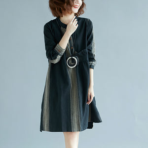 fashion black striped natural cotton linen dress plus size shirt dress vintage long sleeve side open Stand baggy dresses