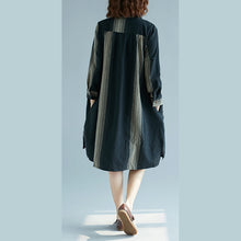 Load image into Gallery viewer, fashion black striped natural cotton linen dress plus size shirt dress vintage long sleeve side open Stand baggy dresses