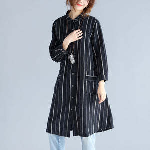 fashion black striped pure cotton linen dress New long sleeve pockets Turn-down Collar knee dresses