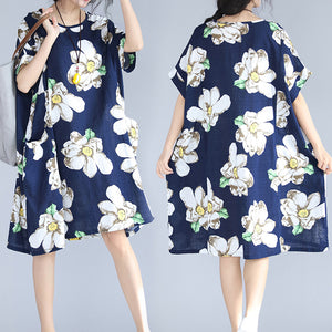 fashion blue floral natural linen dress trendy plus size traveling dress 2018 big pockets short sleeve linen clothing dresses