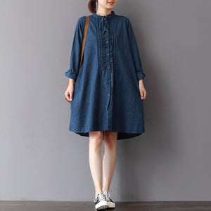 fashion blue linen shift dresses Loose fitting traveling shirt dress 2018 ruffles collar cotton clothing
