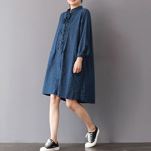 Load image into Gallery viewer, fashion blue linen shift dresses Loose fitting traveling shirt dress 2018 ruffles collar cotton clothing