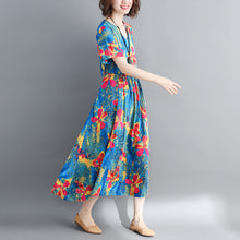 Load image into Gallery viewer, fashion blue long cotton linen dress oversized print wrinkled dresses Fine drawstring v neck cotton linen dress