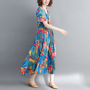 fashion blue long cotton linen dress oversized print wrinkled dresses Fine drawstring v neck cotton linen dress
