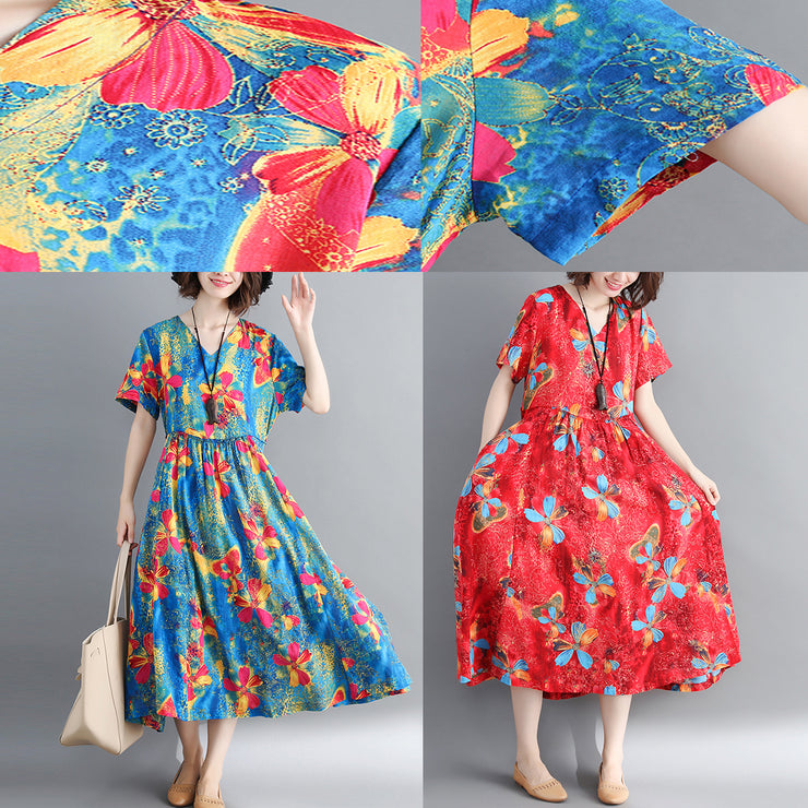 fashion blue long cotton linen dress oversized print Cinched dresses Fine drawstring v neck cotton linen dress