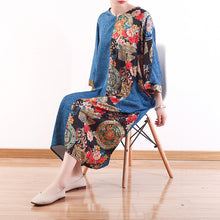 Load image into Gallery viewer, fashion blue natural chiffon dress casual patchwork prints caftans top quality silk o neck maxi dresses