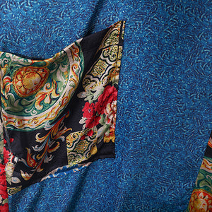 fashion blue natural chiffon dress casual patchwork prints caftans top quality silk o neck maxi dresses