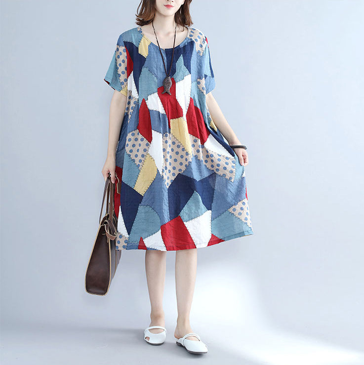 fashion blue patchwork Midi cotton dresses plus size holiday dresses Elegant o neck short sleeve midi dress