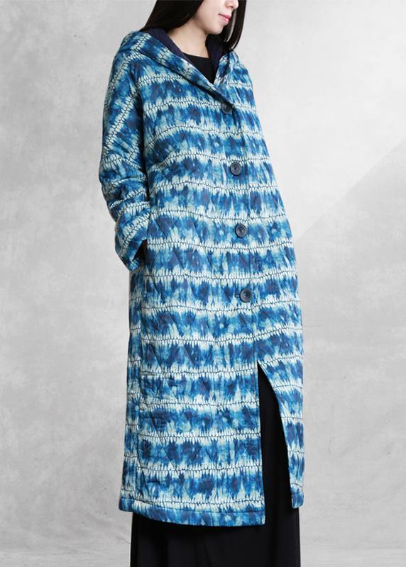 fashion blue print parka Loose fitting down hooded Button outwear