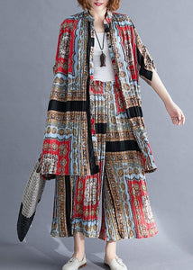 fashion casual chiffon pints shirt dresses and elastic waist wide leg pants red black prints two pieces