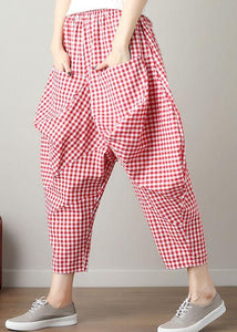 fashion casual red plaid cotton crop pants loose elastic waist pants