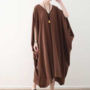 fashion chocolate natural chiffon dress plus size v neck traveling dress Elegant batwing sleeve kaftans