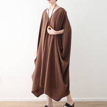 Load image into Gallery viewer, fashion chocolate natural chiffon dress plus size v neck traveling dress Elegant batwing sleeve kaftans