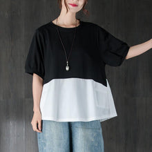 Load image into Gallery viewer, fashion cotton summer top plus size clothing Short Sleeve Splicing Black And White Cotton Tops