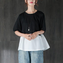 Afbeelding in Gallery-weergave laden, fashion cotton summer top plus size clothing Short Sleeve Splicing Black And White Cotton Tops