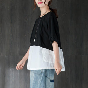 fashion cotton summer top plus size clothing Short Sleeve Splicing Black And White Cotton Tops